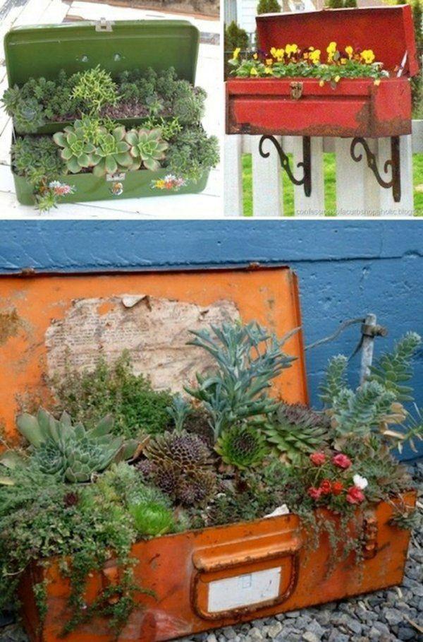 pflanztöpfe alte koffer truhen bemalen pflanzkübel