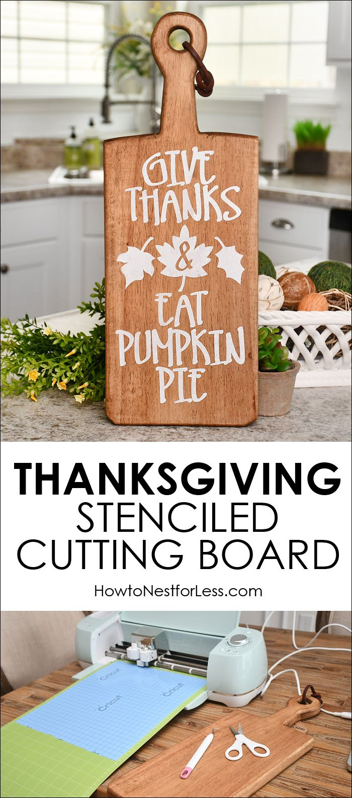 Thanksgiving Stenciled Cutting Board – Cricut Holiday Project