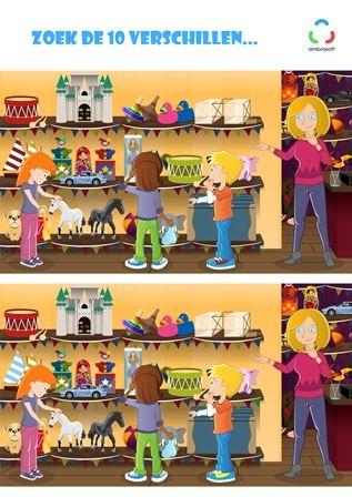 Knutselplaat voor kinderen - zoek de 10 verschillen - Tom en Tamira in de speelgoedwinkel - Ambrasoft Rekenen & Taal
