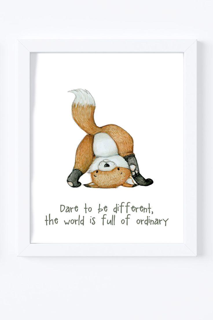 Fox print, Nursery wall art, woodland animal illustration