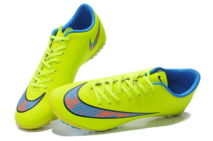 Great Nike Mercurial Victory V TF Fluorescent Yellow Blue Orange $61.99