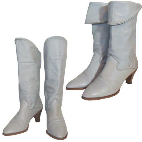1980s Vintage Soft Gray Leather Slouchy Cuffed Boots Size 8M #Boots