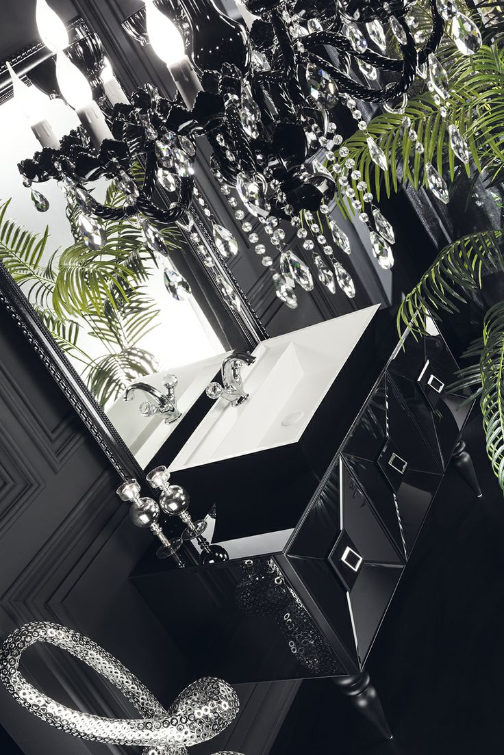 Topex Armadi Art Black Glass Fiaba Bath Vanity From Our Avantgarde Collection!