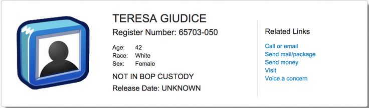 It's official, the Bureau of Prisons (BOP) has assigned Teresa Giudice an inmate #65703-050... Read more and join in at: http://allaboutthetea.com/2014/10/22/teresa-giudice-assigned-prison-location-prisoner-number/