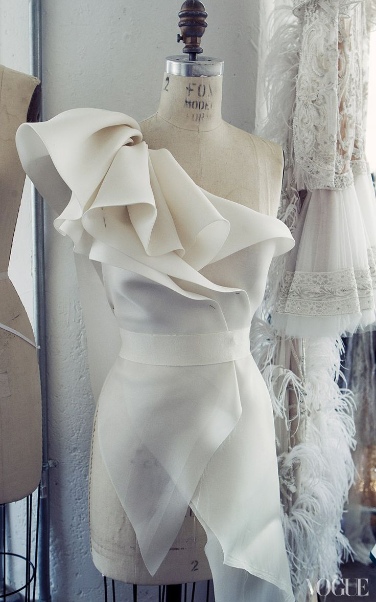 """""""I can spend a whole day draping!"""" Chapman says. - Photographed by Victoria Will"""