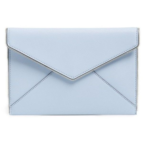 Rebecca Minkoff 'Leo' Envelope Clutch ($71) ❤ liked on Polyvore featuring bags, handbags, clutches, purses, blue clutches, rebecca minkoff, real leather handbags, blue handbags and rebecca minkoff purse
