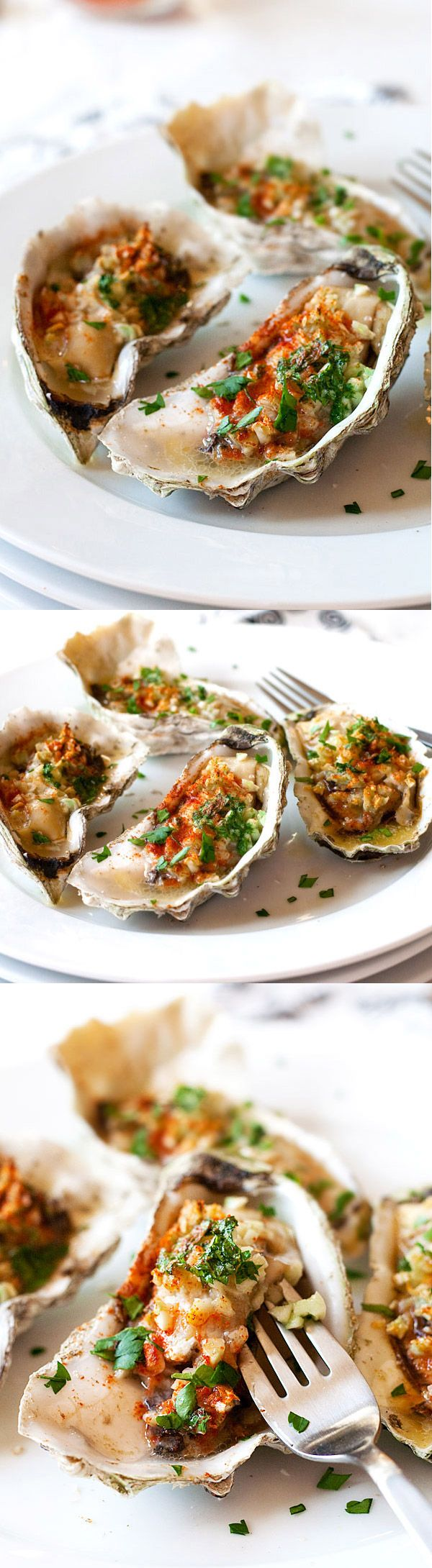 Grilled oysters (baked oysters) – oyster on the half shell with garlic, butter, parsley and paprika. Juicy, briny and crazy delicious. | rasamalaysia.com