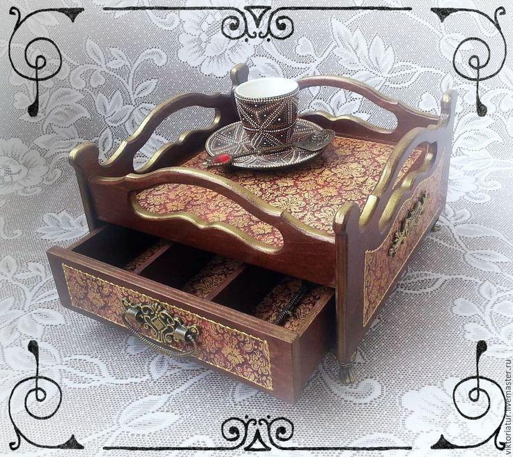 Купить Сервировочный столик поднос. - бордовый, сервировка стола, сервировочный столик, подарок, поднос декупаж