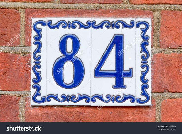 House Number 84 Sign On Painted Tiles Стоковые фотографии 367040033 : Shutterstock