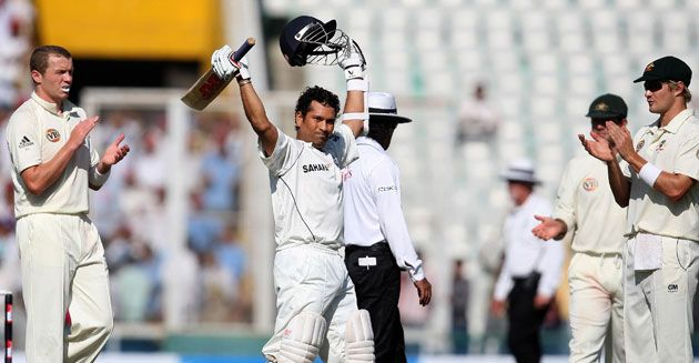 Tendulkar is congratulated by the Australian team after breaking the Test runs record – a feat which makes him arguably the finest batsman o...