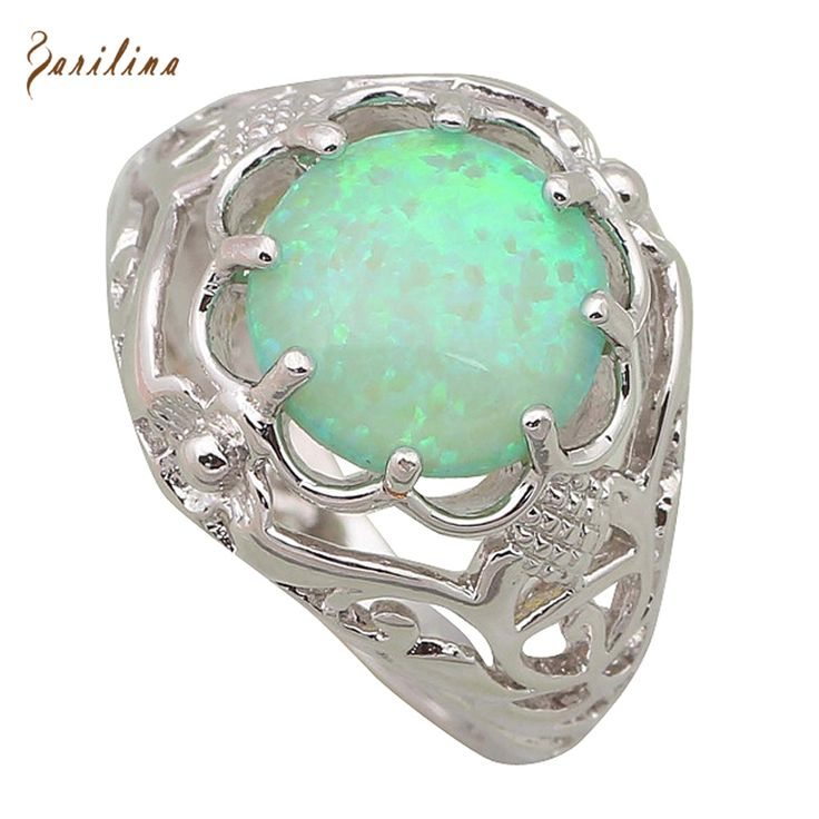 Fine jewelry Fashion women' ring Round Green Opal 925 Sterling Silver Overlay Party ring size 5 6 7 8 9 R455