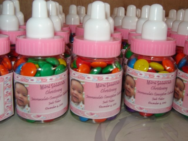 candy coated chocolate in baby bottle  baby shower souvenir