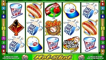 The #HotShot video slot is a five reel, nine-line game that is developed by Microgaming. It features a scatter, wild and a #jackpot payout of £2000.  Hot Shot has a #baseball theme, so you will find related symbols on the reels. This includes a home run, strike, pitcher, batter, trophy, ball, glove, cap, and snack related icons such as fried potatoes, hot dogs, candies, coffee and #popcorn.