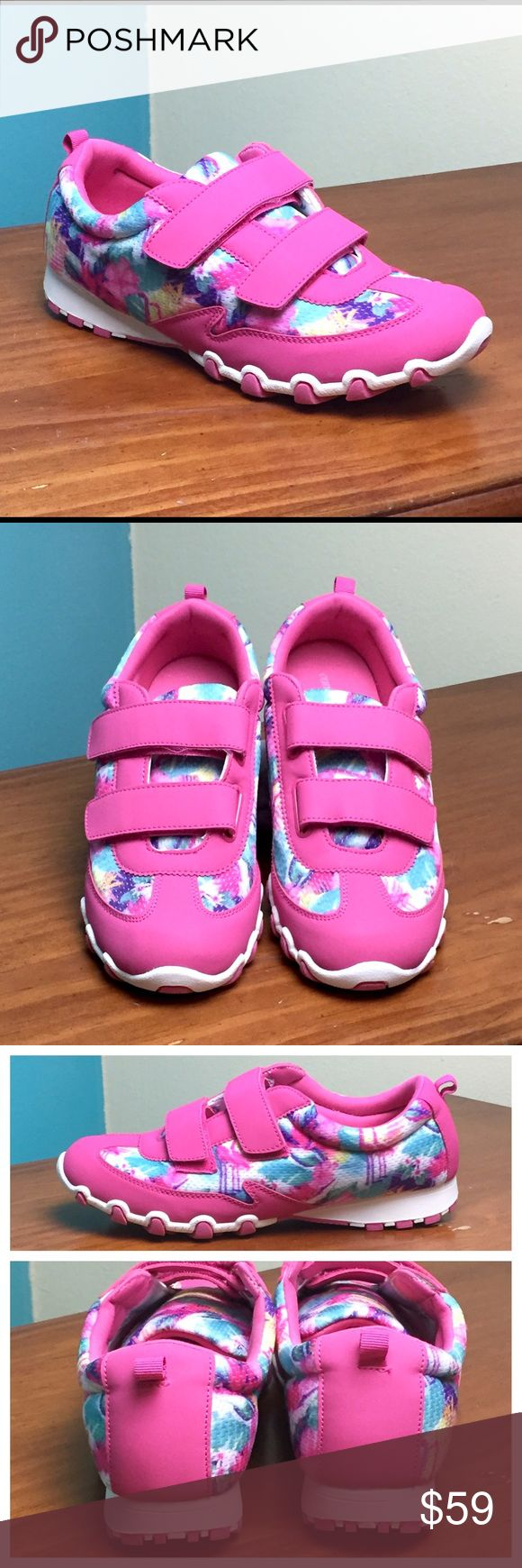COMFORTVIEW Pink Floral Memory Foam Sneakers 11M Super cute pink floral Laken tennis shoes with Velcro closure. These sneakers have a breathable fabric upper and skid-resistant rubber outsole. Memory foam insole for comfort. Size 11M. New without Box! Comfortview Shoes Sneakers