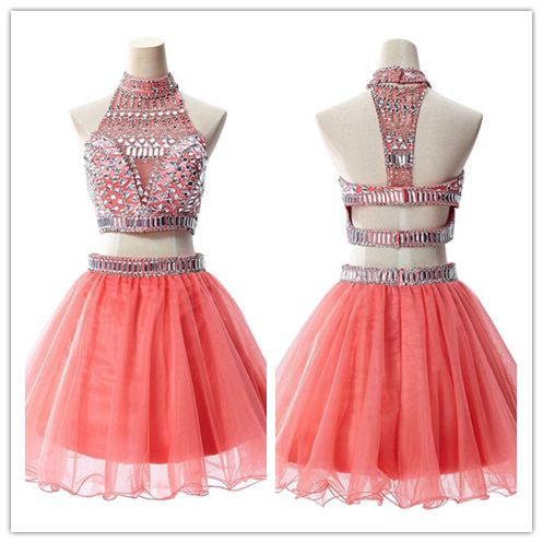 2 Piece Homecoming Dresses/Silver Beading Short Prom Gown/Sweet 16 Dress #H040