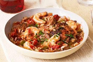 Mardi Gras Jambalaya recipe  I substitute chicken breasts for the thighs, but either is good.