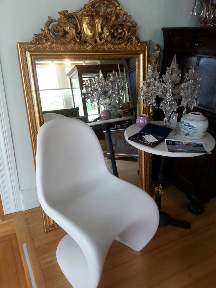 Panton Chairs, Gilt mirror and table chandelier, marble top table.... mix it up!