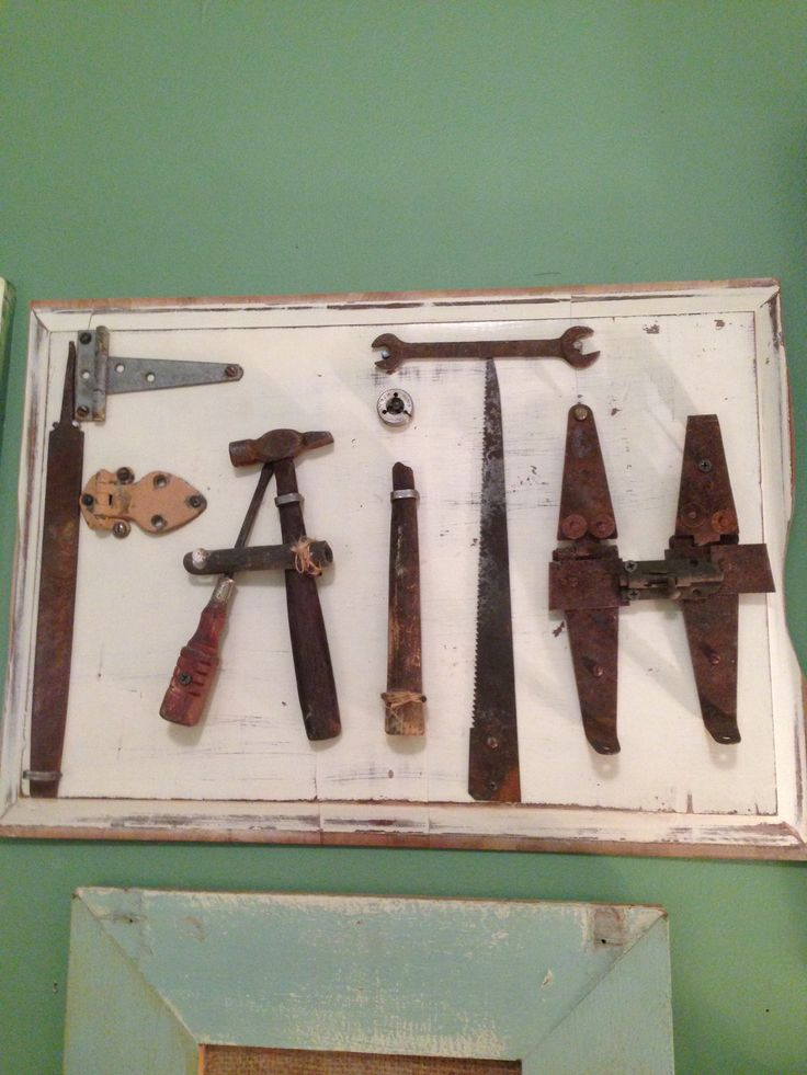 Vintage rustic hardware sign, upcycled!