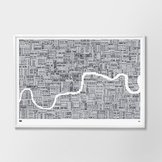 Large Format London Type Map Limited Edition by boldandnoble