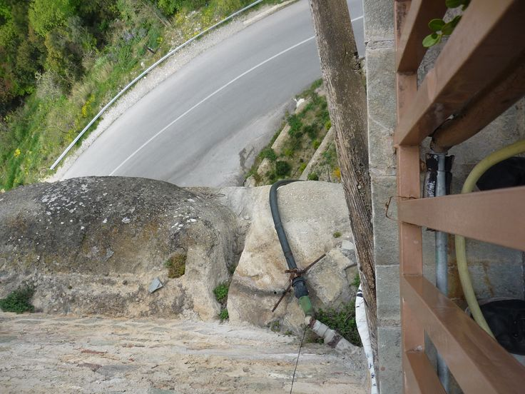 Winding road below the Holy Monastery of Roussanou #cathytravelling