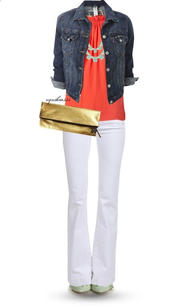 Denim jacket, coral tank, white pants.