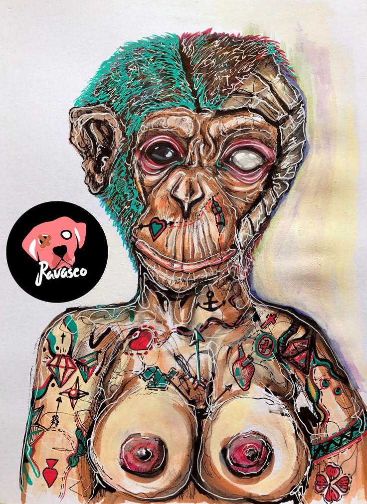 Ilustração Chimpanzé tatuado   Caneta Posca, marcador copic.