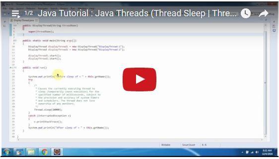 ramram43210,J2EE,Java,java tutorial,java tutorial for beginners,java tutorial for beginners with examples,java programming,java programming tutorial,java video tutorials,java basics,java basic tutorial,java basics for beginners,java basic concepts,java basics tutorial for beginners,java programming language,thread in java,java threads tutorial,java threads,multithreading in java,Thread Sleep,Thread sleep in java