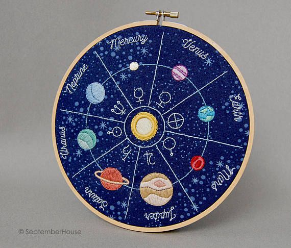 Hand Embroidery Patterns Solar System Space Themed Embroidery by SeptemberHouse