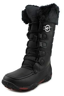Pajar Phyliss-boot Women Round Toe Leather Black Snow Boot.