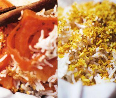 Två spännande recept på ris som passar utmärkt att servera till den indiska maten. Välj mellan ris med smak av tomat, kanel, spiskummin och senapsfrön eller ris med kokosflingor, sesamfrön och gurkmeja.