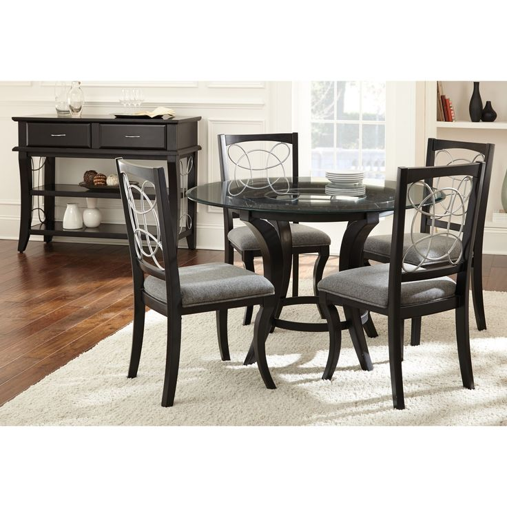 Calypso Glass Top Black Dining Set By Greyson Living (Calypso 5PC Dining Set),  Size 5 Piece Sets