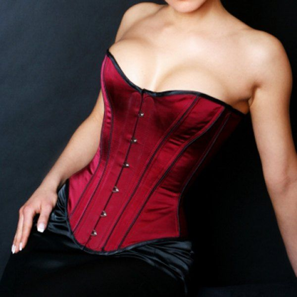 Sexy Strapless Spliced Button Design Slimming Women's Corset, RED, L in Corset & Bustiers   DressLily.com