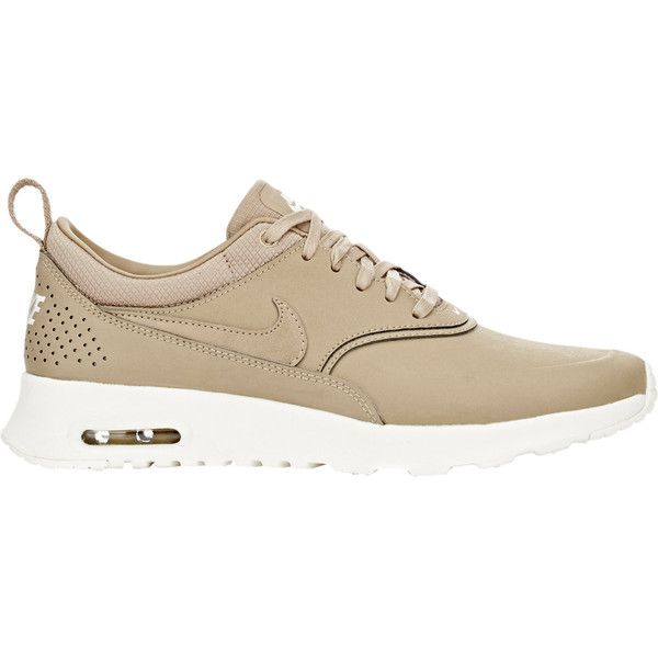 Nike Air Max Thea Premium Sneakers (£73) ❤ liked on Polyvore featuring shoes, sneakers, nude, nude shoes, camo sneakers, leather low top sneakers, flat sneakers and camo shoes
