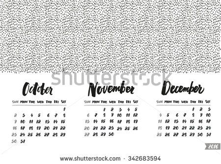 The calendar grid with hand written months. Lettering and hand drawn design.