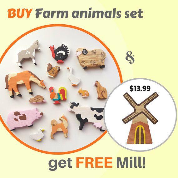 Toy Farm Animals Set 13pcs Waldorf toys Wooden animals