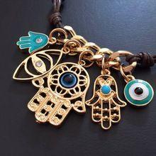 2015 frete grátis nova moda artesanal de malha de mulher olho mão de fátima pulseiras pulseiras de marcas de couro pulseira cadeia(China (Mainland))