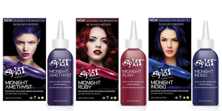 Brunettes DO NOT have to bleach their hair to dye their hair with SPLAT Midnight Collection hair dye. It was formulated specifically for dark hair and it costs about $9 at Target. The formula doesn't contain henna or metals like aluminum, so it won't fry your hair. It comes in Amethyst, Ruby, and Indigo. The lady in this picture used Amethyst.