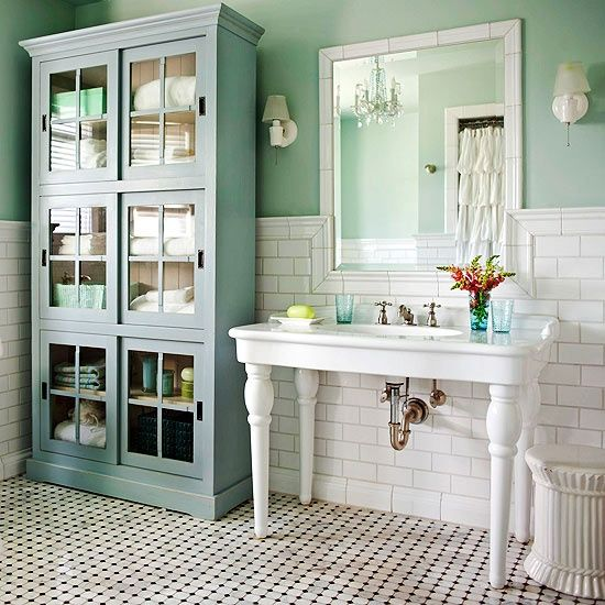 Cottage bathroom- I love the retro floor. I had an original like that in my 138 year old victorian. I had a very similar sink too. What I didn't have is the beautiful cabinet- it sets it off perfectly for storage. Loved my old house and love this bathroom too!