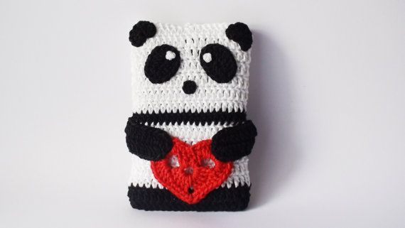 PANDA crochet Phone cozy,Valentine's Day Gift ideas, Birthday gift, crochet phone case, iPhone Gadget Case, Heart case