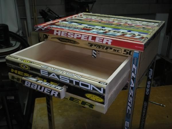 Hockey Stick Bedside Table #4: Final Product   By Melski @ LumberJocks .