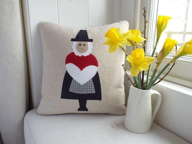 Handmade Welsh lady cushion - St David's Day