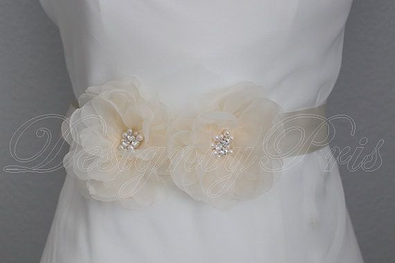 NEW    Bridal Champagne Sash.Belt  Handmade by DesignByPris,