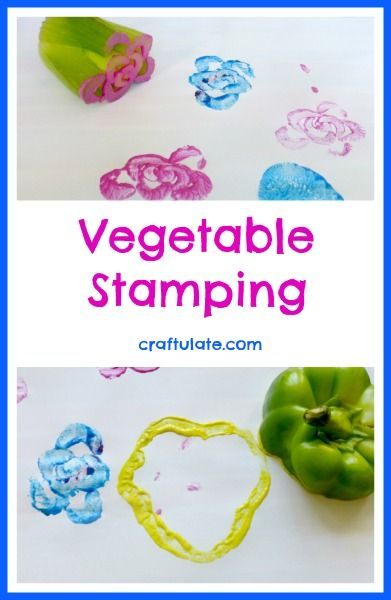 Vegetable stamping is a great way to make artwork from leftover scraps or inedible parts of vegetables.