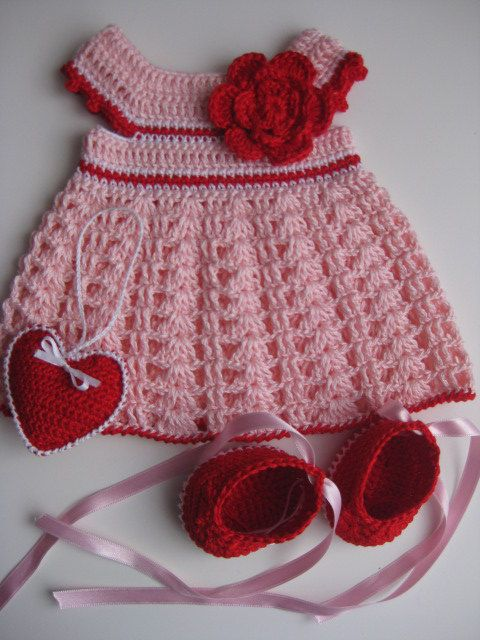Crochet Pink Dress and  shoes with ribbons for 1416 by tatocka, $32.00