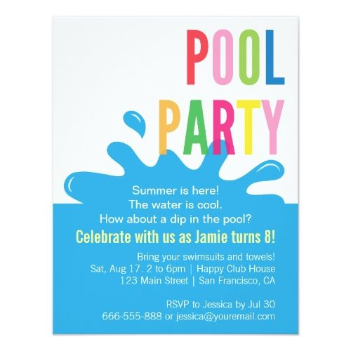 134 best Pool Birthday Party images – Cool Pool Party Invitations