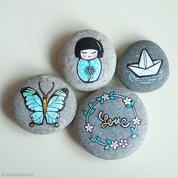 Painted Stones Set of 4 Painted pebbles Hand Painted by joojoo