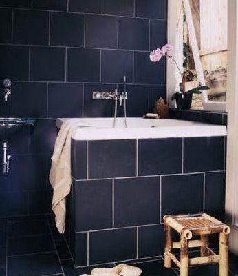 navy wall tile - google search | navy bathroom decor, blue