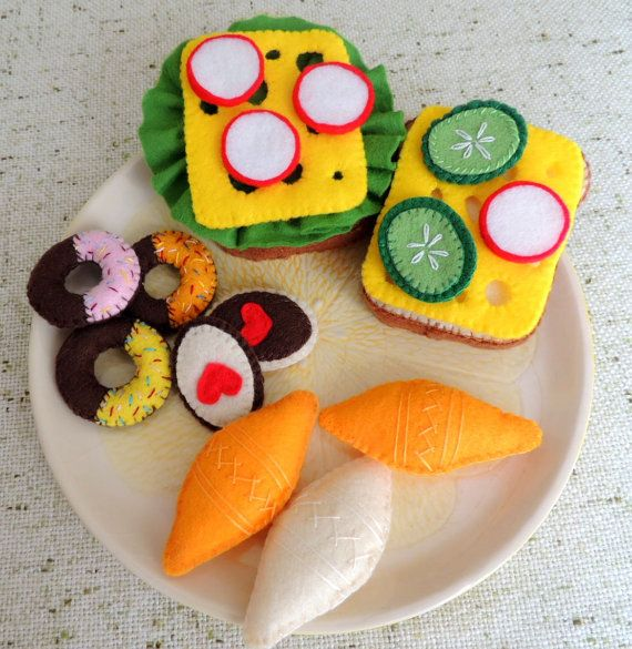 Felt Food Sandwich set eco friendly childrens pretend by decocarin, $20.00