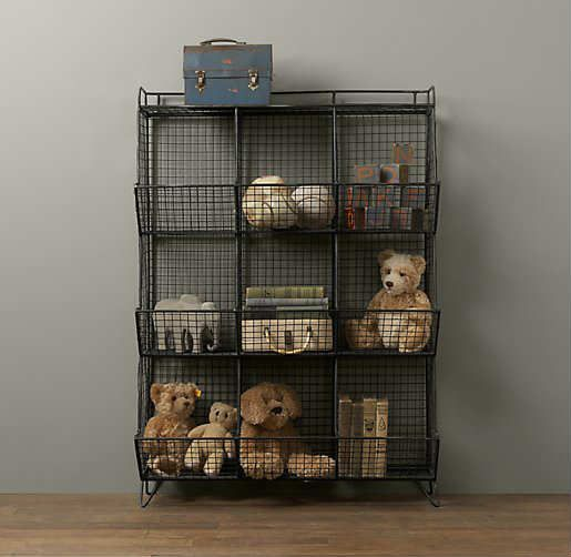 Vintage-industrial vibe storage | 10 Super Stylish Storage Ideas for Kids Rooms - Tinyme Blog