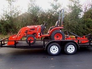 Kubota B2320DT Package Deal... Kubota 23HP 4WD Gear Drive Tractor Kubota LA304 Loader 18ft Trailer w/brakes and slide in ramps                                     4ft Rotary Cutter